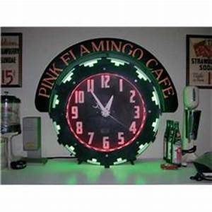 1930s Neon Clock Pink Flamingo