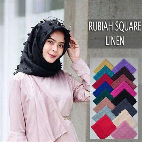 hijab segi empat rubiah linen terbaru  casual trend