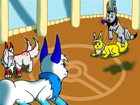 eevee battle by blueskywolf09 on deviantart