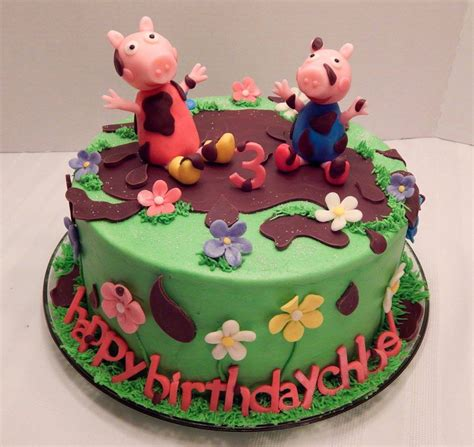 peppa pig mud puddles cake cakecentralcom