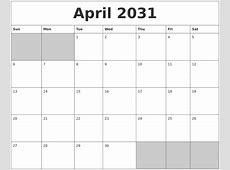 May 2031 Printable Calander