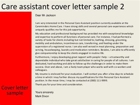 cover letter for personal care assistant care assistant cover letter