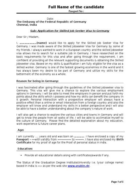sample cover letter germany visa document