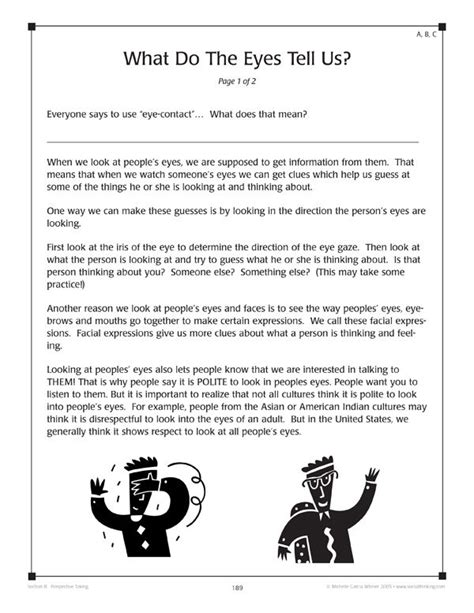 from the book worksheets for teaching social thinking and