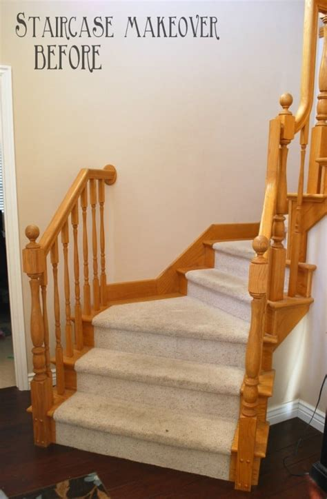 diy staircase makeover  stain  paint