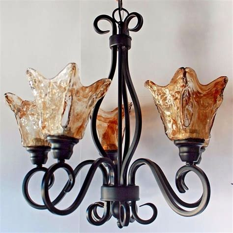 Rustic Foyer Lighting by Rustic Bronze Hanging Chandelier Glass Shades Kitchen