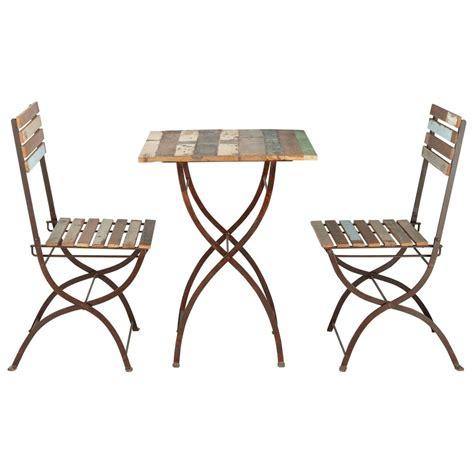 table et 2 chaises table 2 chaises de jardin en bois recyclé et métal effet vieilli l 60 cm collioure maisons