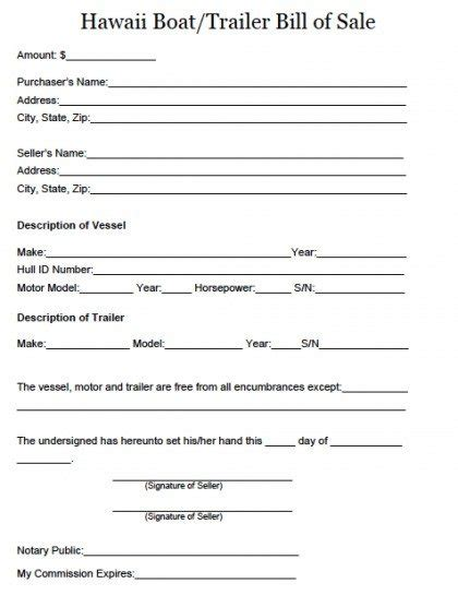 boat bill of sale word template free hawaii boat and trailer bill of sale form pdf word doc