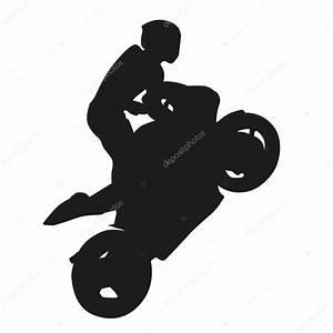 Motorcycle racing vector silhouette, wheelie — Stock ...