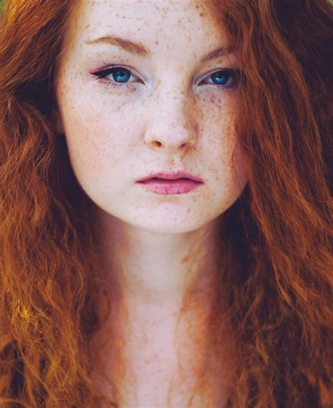 Women Model Redhead Long Hair Portrait Display Blue