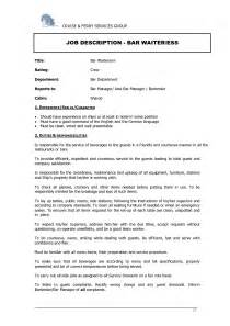 Waitress Skills And Duties Resume by Waitress Responsibilities Resume Sles Resume Sles