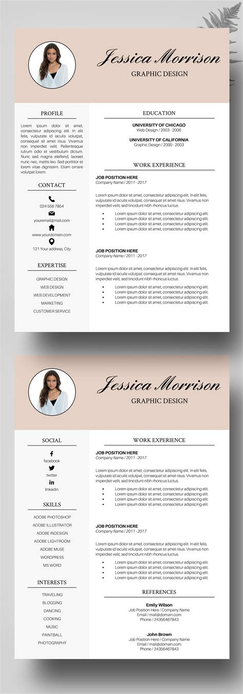 photo resume template resume instant  cv