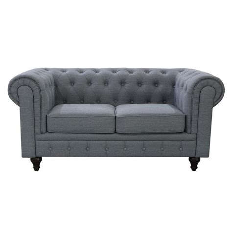 Gray Tufted Loveseat by Grace Chesterfield Linen Fabric Upholstered Button Tufted