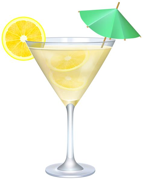 Cocktail Clipart Cocktail With Lemon And Umbrella Png Clip Image