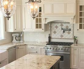 Kitchens with White Cabinets Beige Granite Countertop