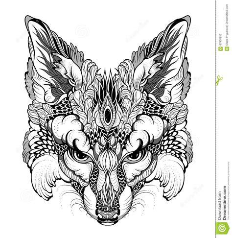 vos hoofdtatoegering psychedelischzentangle stijl vector