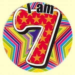 7th Birthday Badge Red   Party Wizard