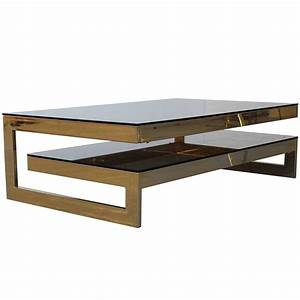 G shaped 23 carat gold plated two level coffee table for Two level coffee table