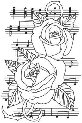 Beautiful Music - Roses_image | Rose coloring pages, Art