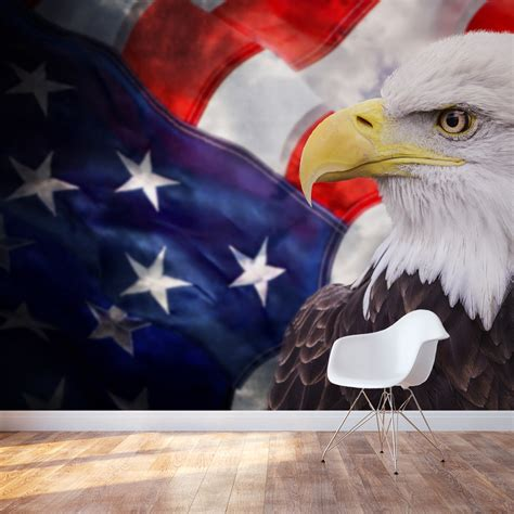 peel and stick bald eagle wall mural