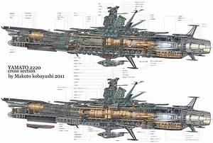 Space Battleship Yamato cross-section schematics ...