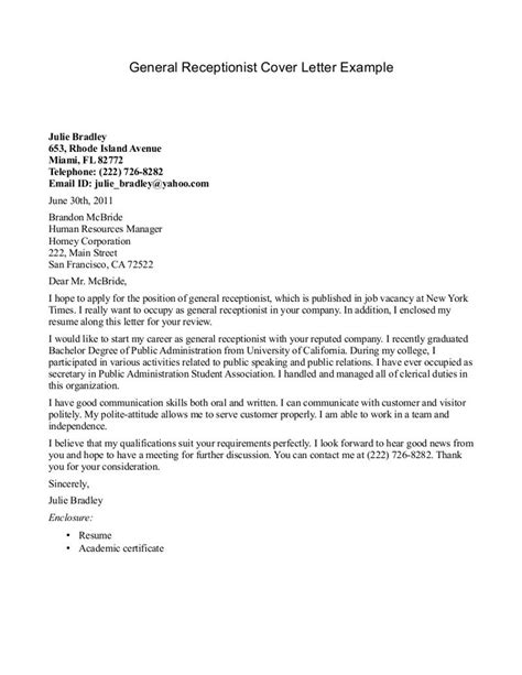 receptionist cover letter  httpjobresumesample