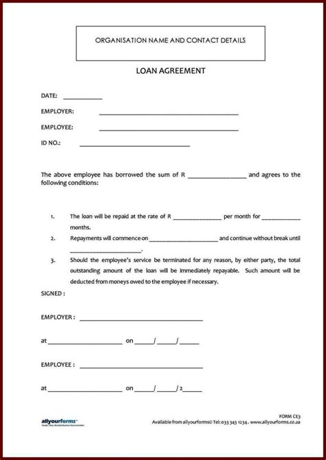 standard loan agreement template  sampletemplatess