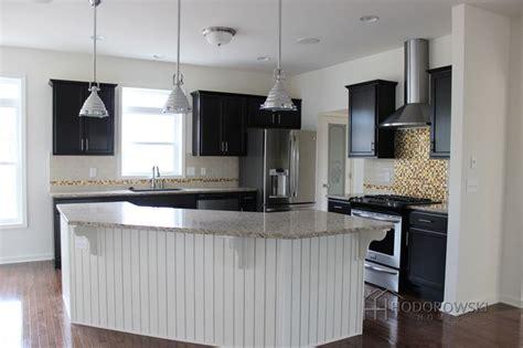 picture perfect kitchen white wainscot island  java