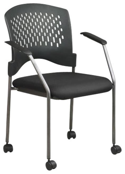office rolling guest chair with casters and arms