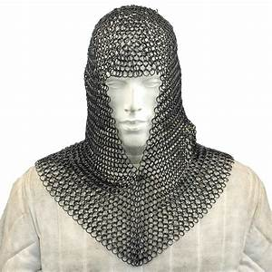 Medieval V Face Blackened Mild Steel Chainmail Coif Armor ...