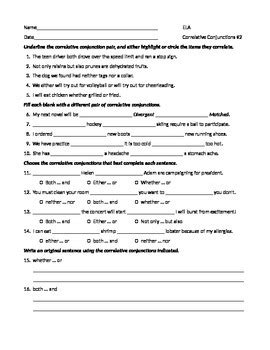 ela conjunctions correlative conjunctions worksheet 2 by