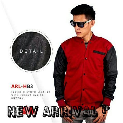 jual jaket bomber keren ganteng pria laki cowok bahan kulit sintetik synthetic leather