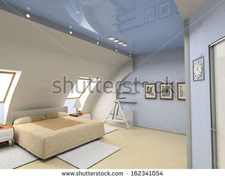 bedroom interior design computer generated image attic interior stock photos images pictures Modern