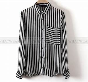 FKU Womens Chiffon Black White Vertical Striped Long ...