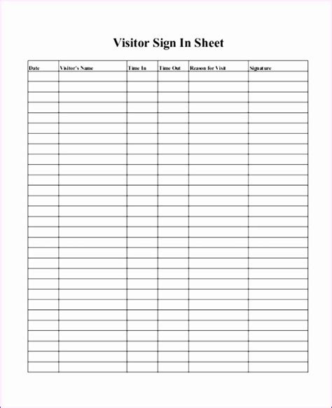 Log Sheet Template Excel by 10 Visitor Log Template Excel Exceltemplates