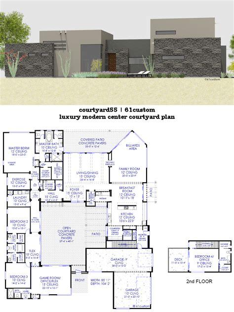courtyard house plans custom contemporary modern house plans