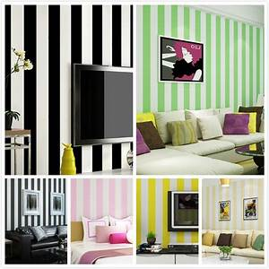 0.53mx10m Modern Classic Stripes Black and White Wallpaper ...