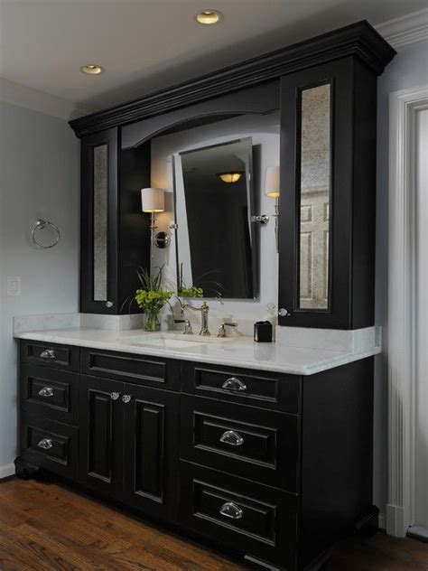 Black Cabinets Bathroom by Black Bathroom Cabinets With White Counters Design