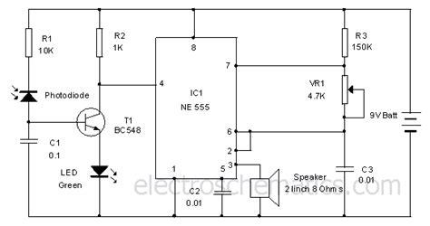 photodiode light detector circuit photodiode alarm circuit