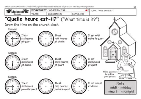 french ks2 level 3 ks3 year 7 what time is it by