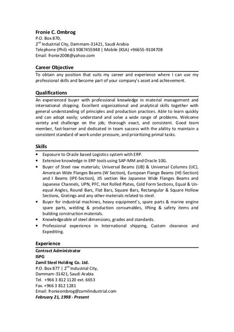 fronie resume contract administrator