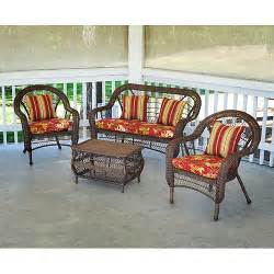 saratoga 4 piece wicker conversation set patio furniture