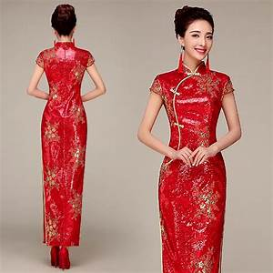 Red sequins party cheongsam traditional Chinese wedding ...