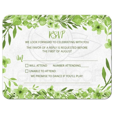 Greenery Botanical Foliage Wedding RSVP Card Green White