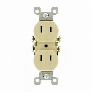 Leviton 15 Amp 2-wire Duplex Outlet  Ivory-223-i