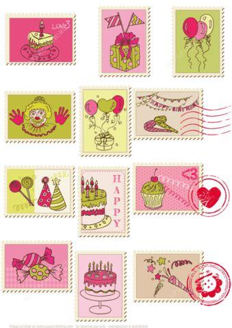 printable happy birthday postage stamps  printable