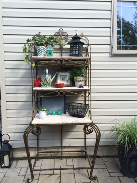 outdoor patio bakers rack decor idea all