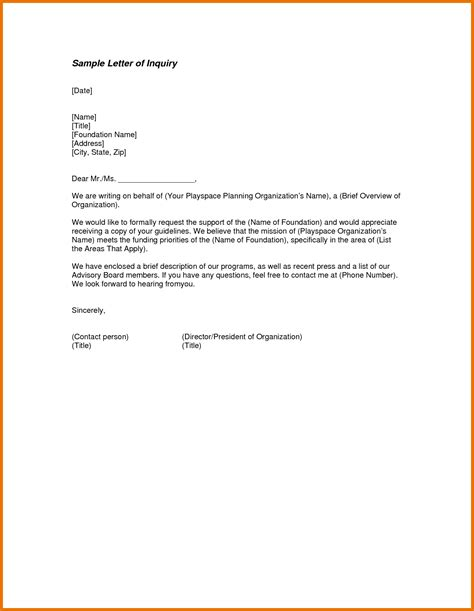 inspirational business inquiry letter sample  support