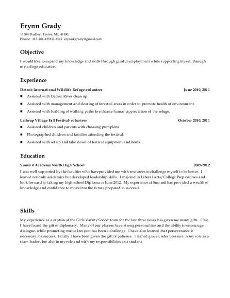 high school resume includes volunteer experience