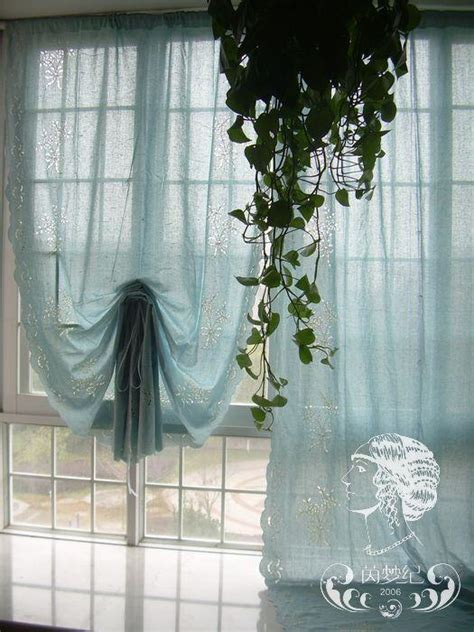 blue embroidered hollow out floral balloon shade sheer